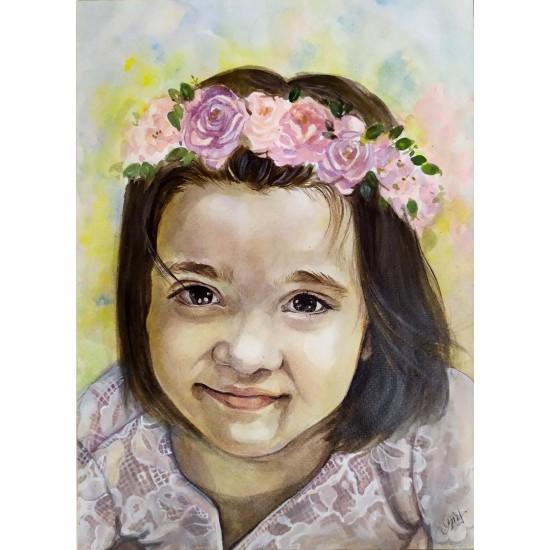 Portret în acuarelă pe suport hârtie 300gr.