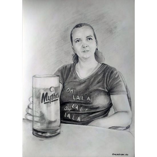 Portret grafit (creion cu densitate moale)/cărbune pe suport hârtie 300gr.